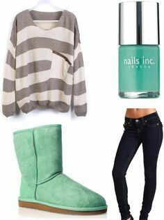 Cute fall outfit for middle school! Gray and white striped oversized sweater,mint uggs,dark washed jeans and mint polish.