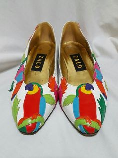 93e08d15361 Details about Vintage Zalo Leather Embroidered Tropical Parrot Themed Loafer  Heel Sz 6