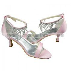 c08a6084640 Satin Peep Toe Sandals--Kitten Heel · Pink Wedding ...