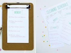 Printable Cleaning Schedule by Tan of Squirrelly Minds | Project | Home Decor | Papercraft / Accessories | Kollabora