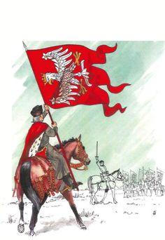 Chorąży z chorągwia Królestwa Polskiego 1410