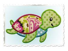 Linda tortuga apliques bordados diseño 4 por RivermillEmbroidery