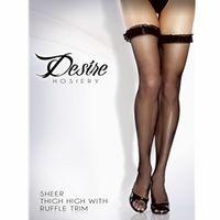 Women's Sheer Thigh Hi With Ruffle Trim- 2012ST Hosiery