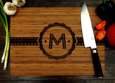 Personalized Initial Badge Cutting Board Wedding Gift by WoodKRFT Custom Cutting Boards, Engraved Cutting Board, Personalized Cutting Board, Traditional Engagement Gifts, Engagement Gifts For Couples, Personalized Wedding Gifts, Anniversary Gifts, House Warming, Badge