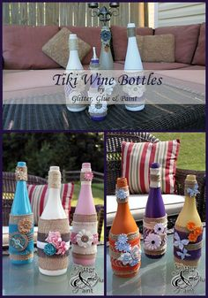 Upcycle wine bottles into pretty and functional Tiki Bottles
