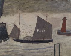 Alfred Wallis (1855-1942)  'P.Z. 11', c.1928 Alfred Wallis was a seaman, ice cream seller and rag-and-bone man before he took up painting in old age. He said he painted 'what used to be' and many of his works depict a remembered past.In 1928 he met professional artists Ben Nicholson and Christopher Wood, for whom Wallis's work represented an instinctive and naïve folk art. As such, Wallis seemed to belong to the tradition of rustic characters common in literature, and represented a link