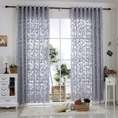 "R.LANG Solid Grommet Top Modern Embroidered sheer Curtain 1 Pair Gray 46""W X 54"" L"