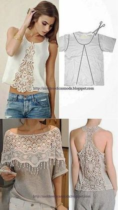 New diy clothes crafts lace ideas Diy Clothes Refashion, Shirt Refashion, Diy Shirt, Clothing Patterns, Dress Patterns, Sewing Patterns, Lace Clothing, Upcycled Clothing, Crochet Patterns