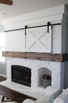 Easy And Cheap Diy Ideas: Partial Rock Fireplace farmhouse fireplace design.Old Fireplace Plants. Tv Over Fireplace, Home Fireplace, Fireplace Remodel, Fireplace Design, Fireplace Doors, Off Center Fireplace, Fireplace Ideas, Farmhouse Fireplace Tools, Fireplace Fender