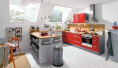 Einbauküche Pera Granat-Rot Hochglanz