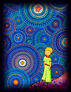 The Cosmic Little Prince by Elspeth McLean Mandala Painting, Dot Painting, Mandala Art, Little Prince Quotes, The Little Prince, Elspeth Mclean, Posca Art, Creation Art, Aboriginal Art