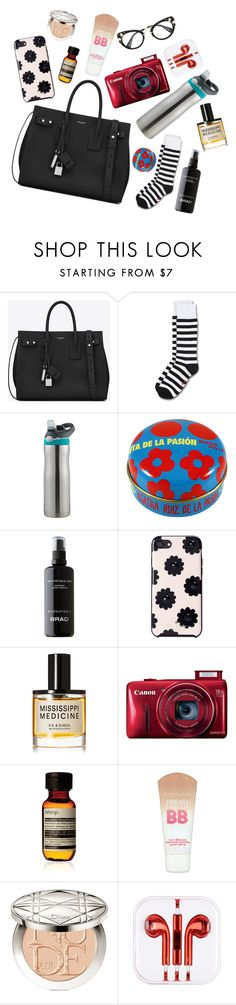 """""""Travel kit #16"""" by xoxomuty ❤ liked on Polyvore featuring Yves Saint Laurent, Dr. Martens, Kate Spade, D.S. & DURGA, Aesop, Maybelline and Christian Dior"""