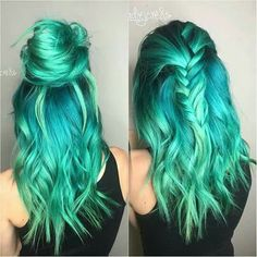.. green blue hair unicorn mermaid colorful hair
