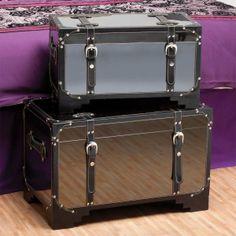 Want!! Storage Mirror Trunks Set of 2
