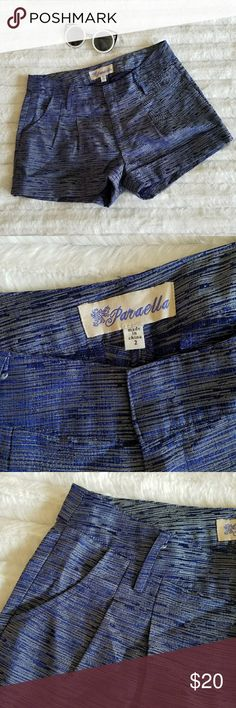 """🆕Paraella blue, silver metallic shorts The cutest little shorts.... when laid flat the waist measures approximately 29"""" &  the inseam 2.5""""... 100% polyester....tu8..... Paraella Shorts"""