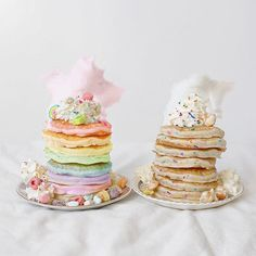 Pin by Kaitlyn Speer on Cute Food Birthday Breakfast, Birthday Brunch, Birthday Pancakes, Breakfast Dessert, Birthday Cake, Cute Food, Yummy Food, Rainbow Pancakes, Cake Rainbow