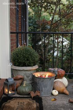 Floating Apple Candles & Our Fall Front Porch