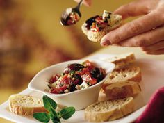 Greek Marinated Roasted Peppers, Olives and Feta.  My version of Greek Bruschetta!  Oh, so Yum!