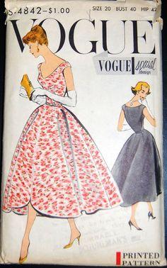 Vintage Original Vogue Special Design 50's Dress Pattern No S-4842