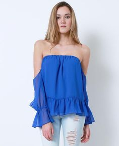 +Non-stretchy chiffon off-shoulder top features ruffle detail at sleeves and hem