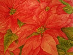 Christmas Poinsettias painting red poinsettia by SharonFosterArt
