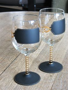 hand painted chalkboard wine glasses from chic chalk designs