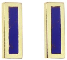 Jennifer Meyer Lapis Inlay Bar Stud Earrings - Yellow Gold ($395) // as seen on Emma Roberts at the Chloé Fall 2017 After-Party - March 2, 2017.