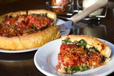 Little Star Pizza - deep dish loaded with spinach and mushrooms, gotta try at home