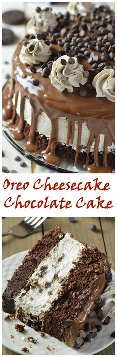 Oreo Cheesecake Chocolate Cake! via OMG Chocolate Desserts. OMG! #cheesecakes #recipes