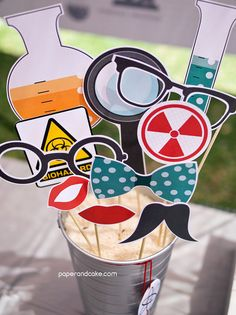 Science Printable PHOTO BOOTH PROPS beakers, flasks, test tubes - Editable Text >> Instant Download << Paper and Cake