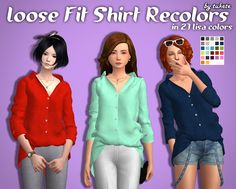 Loose Fit Shirt Solid Recolors • Custom icon thumbnail • Standalone • 27 Lisa color by @simsrocuted • Mesh by @ sims4-marigold Mesh is not included!  Please download it HERE.Choose the download link: Mediafire |  Dropbox |  SimFileShare CC list under the ...