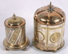 early English silverplate biscuit jars