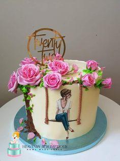 Cake Decorating Frosting, Cake Decorating Designs, Creative Cake Decorating, Cake Decorating Videos, Birthday Cake Decorating, Cake Decorating Techniques, Creative Cakes, Elegant Birthday Cakes, Cute Birthday Cakes