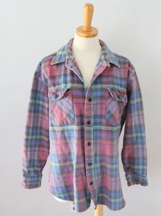 Vtg 80s Coleman plaid purple lumberjack Flannel Shirt Men XL punk grunge F4 #Coleman #ButtonFront
