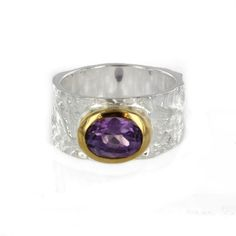 Sterling Silver and Vermeil Oval Amethyst Textured Ring by Marija $219.00 #jewelry