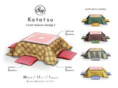Soy. Kotatsu (addme) The Sims, Sims Cc, Japanese Home Design, Japanese Interior, Traditional Japanese House, Japan Apartment, Japanese Bedroom, Japanese Futon, Muebles Sims 4 Cc