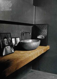 concrete bathroom + wood + monochromatic texture via http://decoholic.org/2012/10/30/20-awesome-concrete-bathroom-designs/
