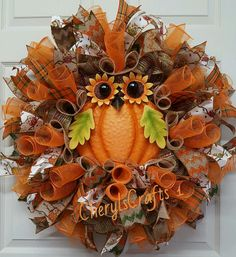 With the purchase of this wreath, you will receive a $10.00 off coupon towards next purchase of $60.00 or more!  Fall Wreath, Owl Wreath, Welocme Fall Wreath, Autumn Wreath, Fall Wall Decor, Halloween Wreath  Nothing Welcomes Fall better than this Warm Hoot Owl Sign dressed in his colors for Fall~hes glitzy~hes glamourous and he is the center of attention!!  Wire frame base in natural poly jute burlap mesh with metallic copper, lime, and brown stripes. Also, used the same mesh in a 10 size…