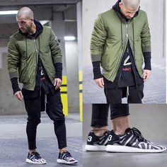 Kosta Williams - Smjstyle Bomber, Favelaclothing Hoodie, Favela Drop Jogger, Adidas Yohji Yamamoto Y 3 Boost, Yeezus Merch Tour - Layering.