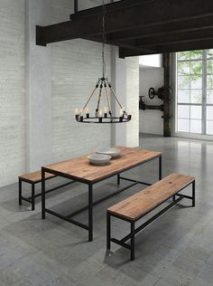 """Modern Diggs Mansell Dining Room Table: Long and thick elm wood planks are fused together a top an antiqued metal base. Add an industrial and rustic touch to your living space with the charming Mansell Dining Table! This item is purposely made to be imperfect; please see the detailed views which clearly illustrate the character of the piece. The Mansell Dining Table features """"old world"""" charm with state of the art, modern day craftsmanship. Modern Dining Room Tables, Dining Table Design, Wooden Dining Tables, Dinning Table, Dining Room Chairs, Dining Room Furniture, Bar Tables, Coffee Tables, Furniture Decor"""