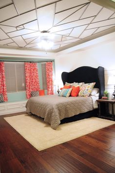 Colorful Master Bedroom with GE Reveal Bulbs for web - gorgeous ceiling at @allthingsthrifty