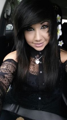 All black scene girl with the few touches of white. Beautiful eyes!