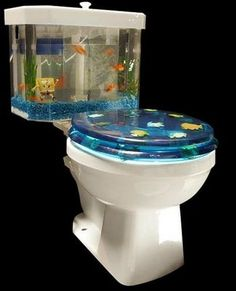 Would be cooler if it didn't have a Sponge Bob figurine in it. brazil, bobs, beach cottages, cafe rio, toilets, boy bathroom, fish aquariums, tank, kid bathrooms