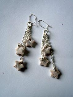 Boucles d'oreille avec 3 pendants à chaînette argentée et petite étoile blanche