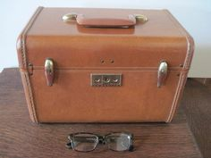 Samsonite Train Case Leather by PhotosPast on Etsy, $32.00