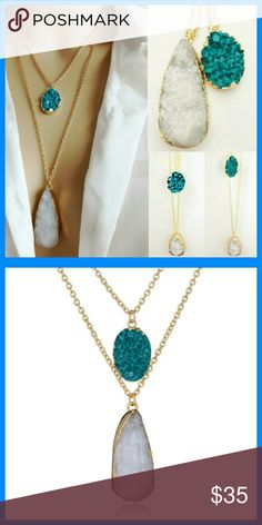 Host Pick!!!! Double Stranded Druzy Necklace Turquoise stone and white stone on two gold chains that combine together for a 2 necklace look. Christine's Findings  Jewelry Necklaces