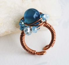 Ocean Blue Glass Blue Crystal Copper Wire Wrap Handmade Adjustable Ring Unique #Wrap