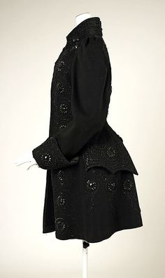 Jacket, 1890's, wool & beading.    So, is it really a pocket? In that location?