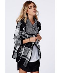 Missguided - Asma Chunky Knit Check Cardigan Monochrome