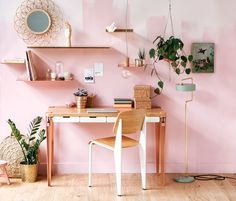 Blush pink and gold accessories make a beautiful home office. that stylish desk too made with TIPTOE desk legs and a diy table top looks divine. Furniture, Interior, Home, Pink Office, Room Inspiration, Office Desk, Office, Desk, Office Design